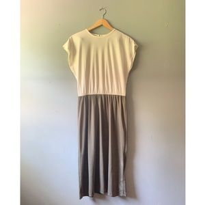 Green & White Sleeveless Vintage Dress